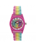 """Donut Worry Be Happy"" Analog Watch with Multi Color Strap"