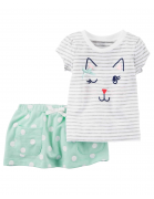 Yesil baby girl Polka-Dot skirt and cat T-shirts - set of 2